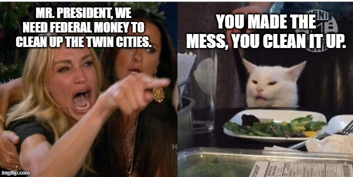 white cat table |  YOU MADE THE MESS, YOU CLEAN IT UP. MR. PRESIDENT, WE NEED FEDERAL MONEY TO CLEAN UP THE TWIN CITIES. | image tagged in white cat table | made w/ Imgflip meme maker