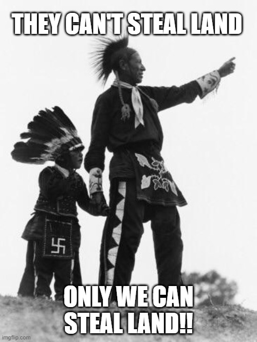 Native American |  THEY CAN'T STEAL LAND; ONLY WE CAN STEAL LAND!! | image tagged in native american | made w/ Imgflip meme maker