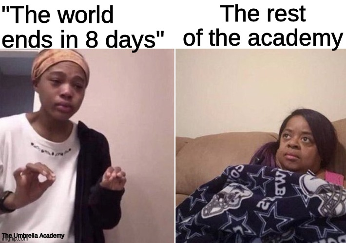 "The Umbrella Academy |  The rest of the academy; ""The world ends in 8 days""; The Umbrella Academy 