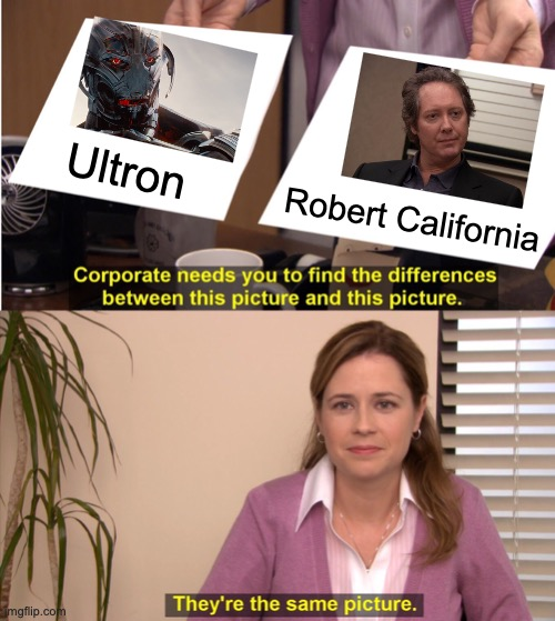 They're The Same Picture |  Ultron; Robert California | image tagged in memes,they're the same picture,the office,age of ultron | made w/ Imgflip meme maker