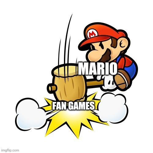 Nintendo might DMCA this meme | image tagged in fan games,super mario bros,nope,copyright,dmca | made w/ Imgflip meme maker