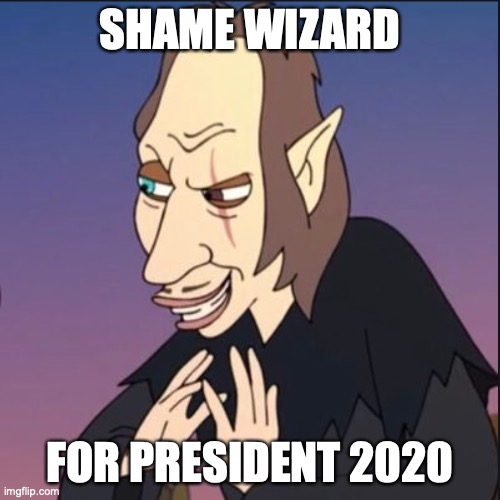 Shame Wizard For President |  SHAME WIZARD; FOR PRESIDENT 2020 | image tagged in president,cultural marxism,blm,potus,white guilt,liberal agenda | made w/ Imgflip meme maker
