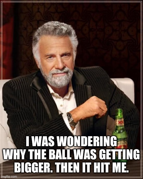 The Most Interesting Man In The World |  I WAS WONDERING WHY THE BALL WAS GETTING BIGGER. THEN IT HIT ME. | image tagged in memes,the most interesting man in the world | made w/ Imgflip meme maker