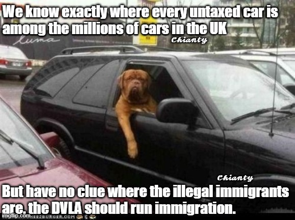 Know exactly |  We know exactly where every untaxed car is  among the millions of cars in the UK; 𝓒𝓱𝓲𝓪𝓷𝓽𝔂; 𝓒𝓱𝓲𝓪𝓷𝓽𝔂; But have no clue where the illegal immigrants are, the DVLA should run immigration. | image tagged in immigration | made w/ Imgflip meme maker
