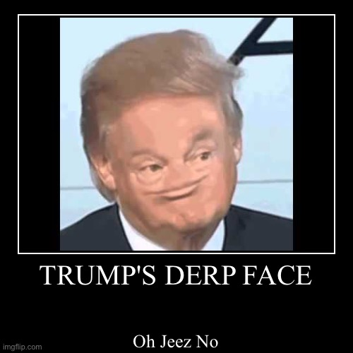 Derp Trump | TRUMP'S DERP FACE | Oh Jeez No | image tagged in funny,demotivationals | made w/ Imgflip demotivational maker