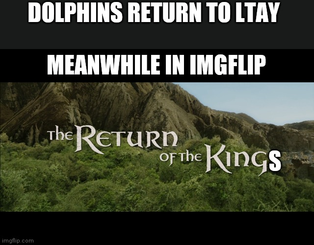 Welcome back ememon |  DOLPHINS RETURN TO LTAY; MEANWHILE IN IMGFLIP; S | image tagged in return of the king | made w/ Imgflip meme maker