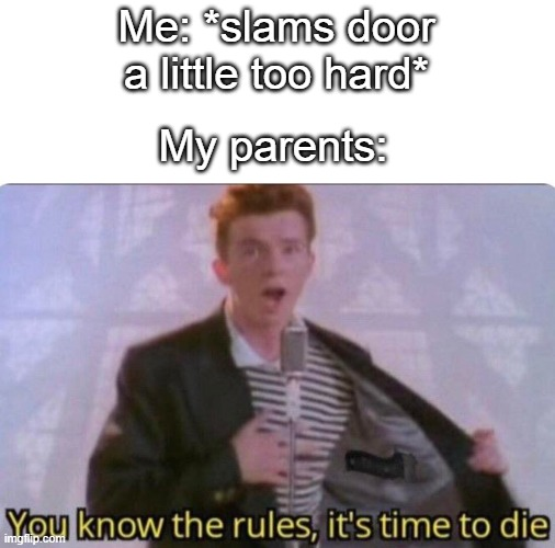 me pare ants |  My parents:; Me: *slams door a little too hard* | image tagged in parents,rick astley,rick astley you know the rules,relatable,ive made a huge mistake,im in danger | made w/ Imgflip meme maker