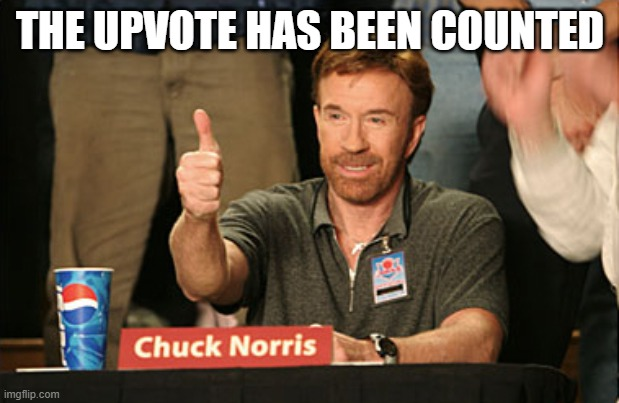 Chuck Norris Approves Meme | THE UPVOTE HAS BEEN COUNTED | image tagged in memes,chuck norris approves,chuck norris | made w/ Imgflip meme maker