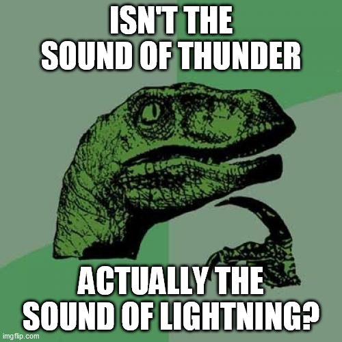 Philosoraptor |  ISN'T THE SOUND OF THUNDER; ACTUALLY THE SOUND OF LIGHTNING? | image tagged in memes,philosoraptor,lightning,thunder,meteorology,weather | made w/ Imgflip meme maker