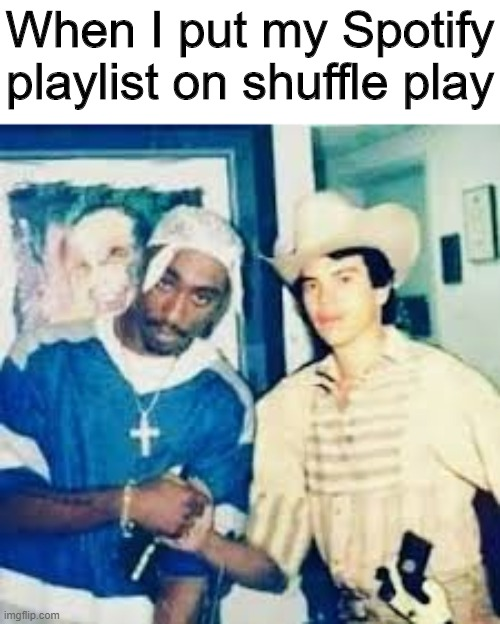 My playlist |  When I put my Spotify playlist on shuffle play | image tagged in memes,funny,spotify,playlist,tupac | made w/ Imgflip meme maker