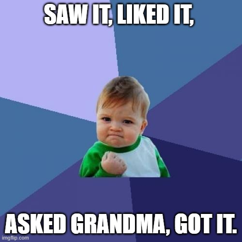 dont u love grandma's? |  SAW IT, LIKED IT, ASKED GRANDMA, GOT IT. | image tagged in memes,success kid | made w/ Imgflip meme maker