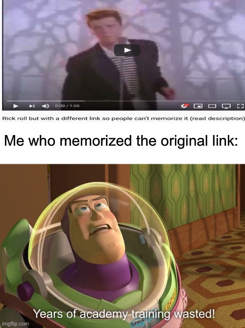 years of academy training wasted |  Me who memorized the original link: | image tagged in years of academy training wasted | made w/ Imgflip meme maker