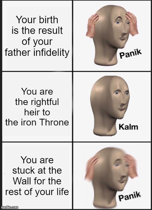 Jon Snow fate's |  Your birth is the result of your father infidelity; You are the rightful heir to the iron Throne; You are stuck at the Wall for the rest of your life | image tagged in panik kalm panik,game of thrones,jon snow,life sucks,men cheating,truth | made w/ Imgflip meme maker