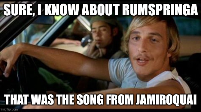 SURE, I KNOW ABOUT RUMSPRINGA; THAT WAS THE SONG FROM JAMIROQUAI | image tagged in dazed-and-confused | made w/ Imgflip meme maker