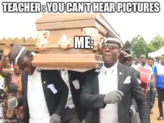 TEACHER : YOU CAN'T HEAR PICTURES; ME: | image tagged in coffin dance | made w/ Imgflip meme maker