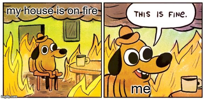 This Is Fine |  my house is on fire; me | image tagged in memes,this is fine | made w/ Imgflip meme maker