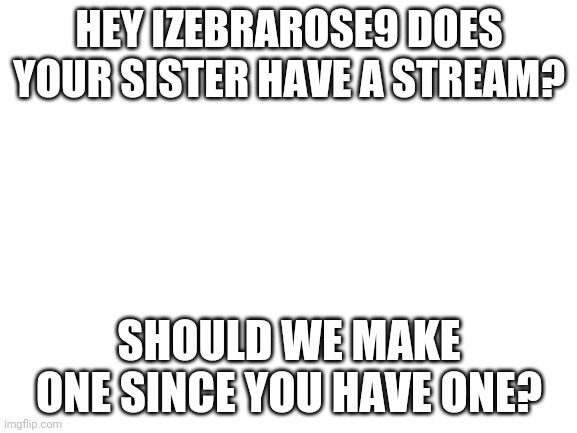 blank white template |  HEY IZEBRAROSE9 DOES YOUR SISTER HAVE A STREAM? SHOULD WE MAKE ONE SINCE YOU HAVE ONE? | image tagged in blank white template | made w/ Imgflip meme maker