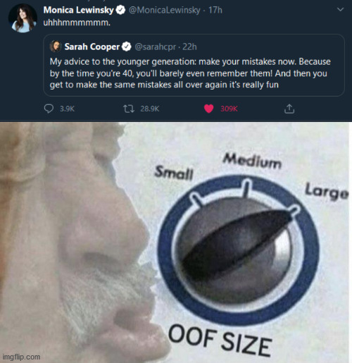 Ouch | image tagged in oof size large,ouch,oof,monica lewinsky | made w/ Imgflip meme maker