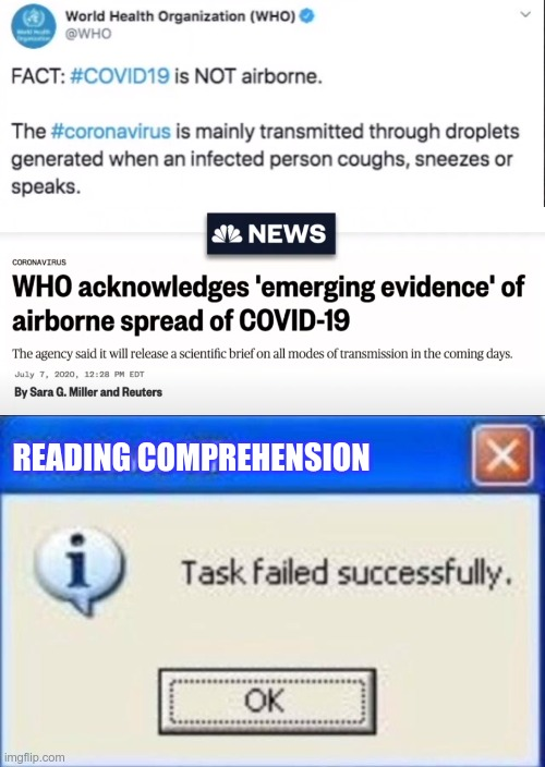 I wonder which WHO they were talking to....Doctor Who? |  READING COMPREHENSION | image tagged in task failed successfully | made w/ Imgflip meme maker