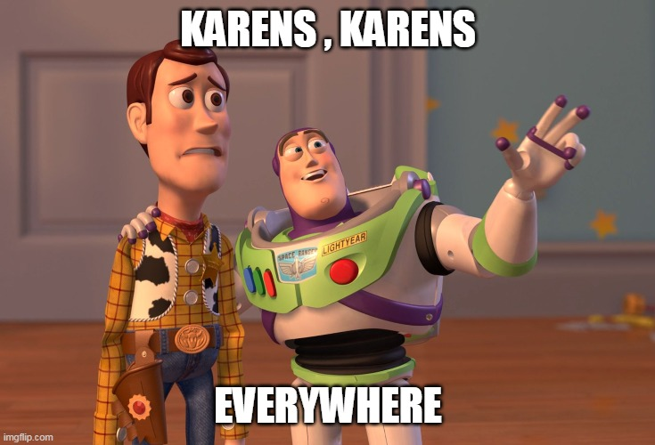 X, X Everywhere Meme | KARENS , KARENS EVERYWHERE | image tagged in memes,x x everywhere | made w/ Imgflip meme maker