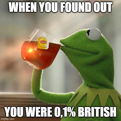 But That's None Of My Business |  WHEN YOU FOUND OUT; YOU WERE 0,1% BRITISH | image tagged in memes,but that's none of my business,kermit the frog,british | made w/ Imgflip meme maker