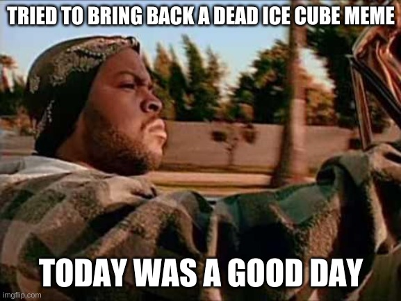 Today Was A Good Day |  TRIED TO BRING BACK A DEAD ICE CUBE MEME; TODAY WAS A GOOD DAY | image tagged in memes,today was a good day,ice cube,drake,fivio forgien | made w/ Imgflip meme maker
