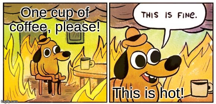 This Is Fine |  One cup of coffee, please! This is hot! | image tagged in memes,this is fine | made w/ Imgflip meme maker