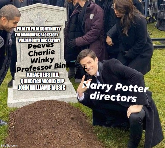 Books are better |  FILM TO FILM CONTINUITY; THE MARAUDERS BACKSTORY; VOLDEMORTS BACKSTORY; KREACHERS TAIL; QUIDDITCH WORLD CUP; JOHN WILLIAMS MUSIC | image tagged in funeral,harry potter,harry potter meme | made w/ Imgflip meme maker