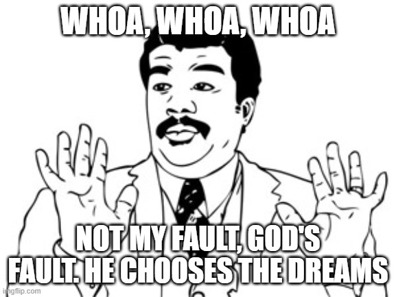 Neil deGrasse Tyson Meme | WHOA, WHOA, WHOA NOT MY FAULT, GOD'S FAULT. HE CHOOSES THE DREAMS | image tagged in memes,neil degrasse tyson | made w/ Imgflip meme maker