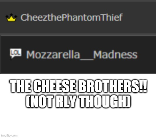THE CHEESE BROTHERS!! (NOT RLY THOUGH) | image tagged in blank white template | made w/ Imgflip meme maker