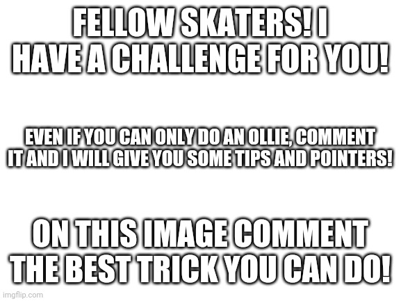 What can you do? |  FELLOW SKATERS! I HAVE A CHALLENGE FOR YOU! EVEN IF YOU CAN ONLY DO AN OLLIE, COMMENT IT AND I WILL GIVE YOU SOME TIPS AND POINTERS! ON THIS IMAGE COMMENT THE BEST TRICK YOU CAN DO! | image tagged in blank white template,skateboarding | made w/ Imgflip meme maker