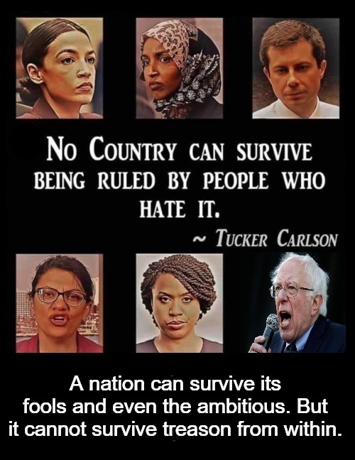 No country can survive being ruled by people who hate it. ~Tucker Carlson |  A nation can survive its fools and even the ambitious. But it cannot survive treason from within. | image tagged in tucker carlson,treason,cultural marxism,sedition,traitors,radical left | made w/ Imgflip meme maker