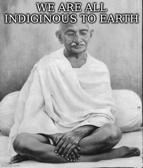 Gandhi meditation | WE ARE ALL INDIGINOUS TO EARTH | image tagged in gandhi meditation | made w/ Imgflip meme maker