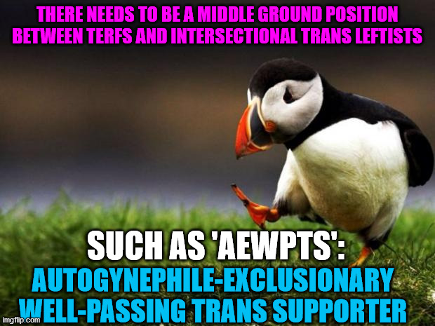 I will support trans people who pass as the gender they identify as |  THERE NEEDS TO BE A MIDDLE GROUND POSITION BETWEEN TERFS AND INTERSECTIONAL TRANS LEFTISTS; SUCH AS 'AEWPTS':; AUTOGYNEPHILE-EXCLUSIONARY WELL-PASSING TRANS SUPPORTER | image tagged in memes,unpopular opinion puffin,transgender,leftists | made w/ Imgflip meme maker