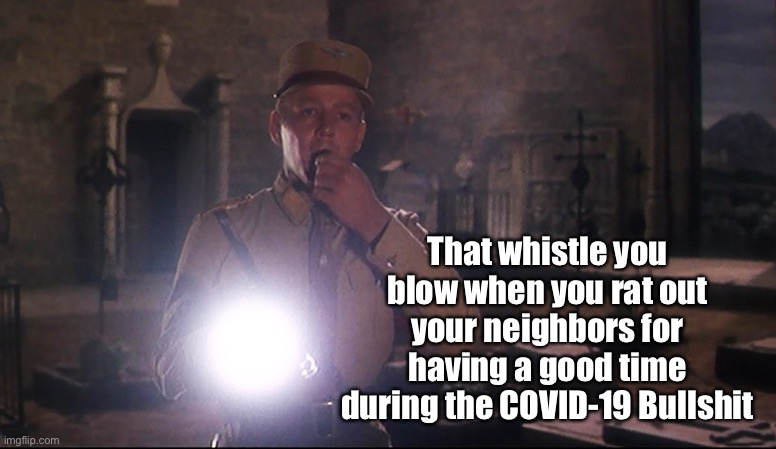 Snitches |  That whistle you blow when you rat out your neighbors for having a good time during the COVID-19 Bullshit | image tagged in covid-19,nazis,freedom,hoax | made w/ Imgflip meme maker