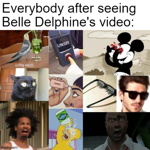 after seeing belle delphine's video |  Everybody after seeing Belle Delphine's video: | image tagged in unsee,unsee glasses,crab man eww,bleach | made w/ Imgflip meme maker