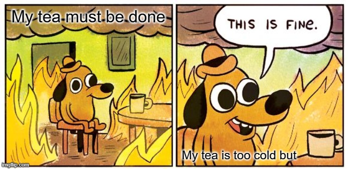 Yay Tea |  My tea must be done; My tea is too cold but | image tagged in memes,this is fine | made w/ Imgflip meme maker