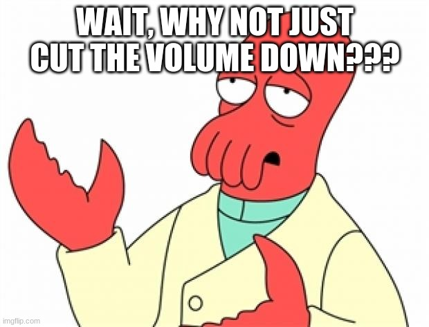 Why not Zoidberg | WAIT, WHY NOT JUST CUT THE VOLUME DOWN??? | image tagged in why not zoidberg | made w/ Imgflip meme maker