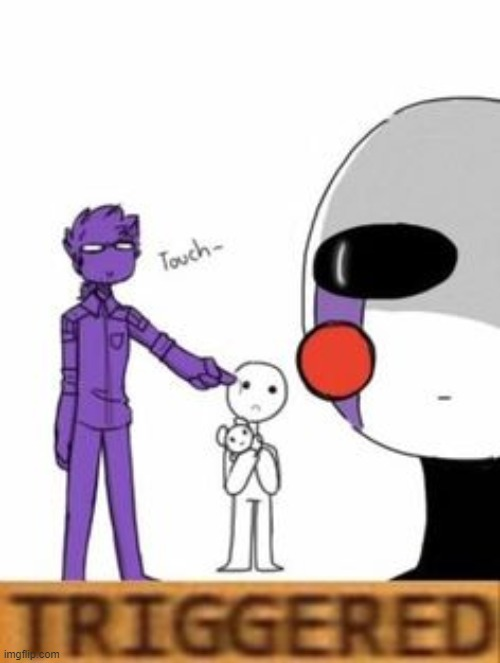 image tagged in triggered,fnaf,the puppet from fnaf 2,purple guy | made w/ Imgflip meme maker