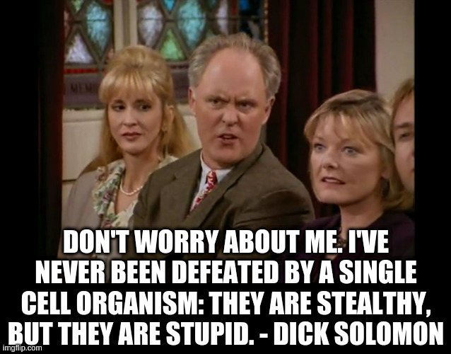 Dick |  DON'T WORRY ABOUT ME. I'VE NEVER BEEN DEFEATED BY A SINGLE CELL ORGANISM: THEY ARE STEALTHY, BUT THEY ARE STUPID. - DICK SOLOMON | image tagged in coronavirus,dick solomon | made w/ Imgflip meme maker