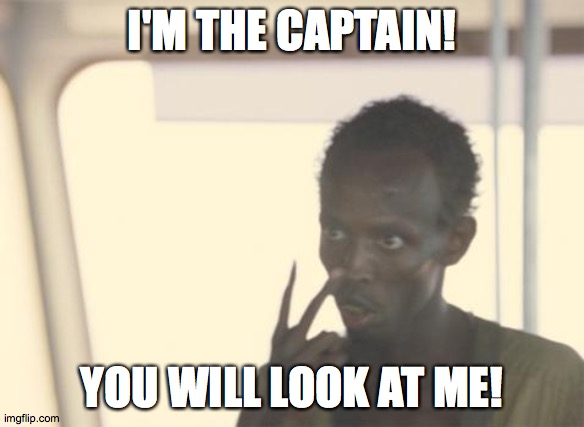 I'm The Captain Now |  I'M THE CAPTAIN! YOU WILL LOOK AT ME! | image tagged in memes,i'm the captain now | made w/ Imgflip meme maker