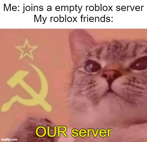 Communist Cat |  Me: joins a empty roblox server My roblox friends:; OUR server | image tagged in cat,communism,communist,soviet russia,memes,fun | made w/ Imgflip meme maker