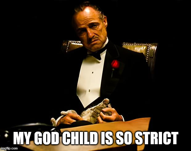 Godfather | MY GOD CHILD IS SO STRICT | image tagged in godfather | made w/ Imgflip meme maker