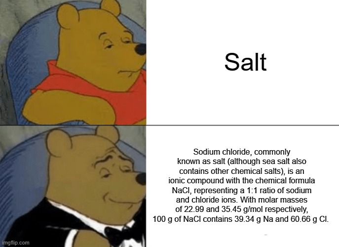 Salt but its intellectual |  Salt; Sodium chloride, commonly known as salt (although sea salt also contains other chemical salts), is an ionic compound with the chemical formula NaCl, representing a 1:1 ratio of sodium and chloride ions. With molar masses of 22.99 and 35.45 g/mol respectively, 100 g of NaCl contains 39.34 g Na and 60.66 g Cl. | image tagged in memes,tuxedo winnie the pooh,salt | made w/ Imgflip meme maker