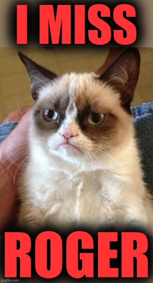 Grumpy Cat Meme | I MISS ROGER | image tagged in memes,grumpy cat | made w/ Imgflip meme maker