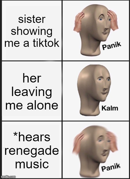 Panik Kalm Panik Meme |  sister showing me a tiktok; her leaving me alone; *hears renegade music | image tagged in memes,panik kalm panik | made w/ Imgflip meme maker
