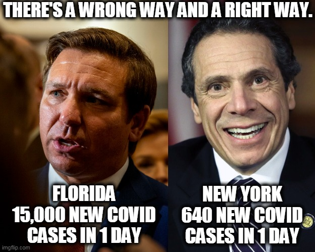 Still laughing at New York? |  THERE'S A WRONG WAY AND A RIGHT WAY. FLORIDA 15,000 NEW COVID CASES IN 1 DAY; NEW YORK 640 NEW COVID CASES IN 1 DAY | image tagged in florida,disaster,new york,smart,covid-19,cuomo | made w/ Imgflip meme maker