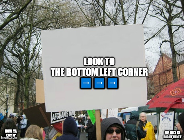 troll |  LOOK TO THE BOTTOM LEFT CORNER ➡️➡️➡️; NO THIS IS RIGHT, IDIOT; NOW YA GOT IT. | image tagged in blank protest sign | made w/ Imgflip meme maker