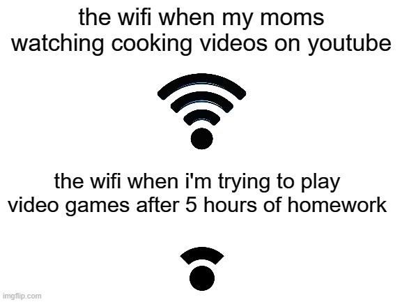 the wifi when im trying to play vidoe games |  the wifi when my moms watching cooking videos on youtube; the wifi when i'm trying to play video games after 5 hours of homework | image tagged in blank white template,lmao,lmfao | made w/ Imgflip meme maker