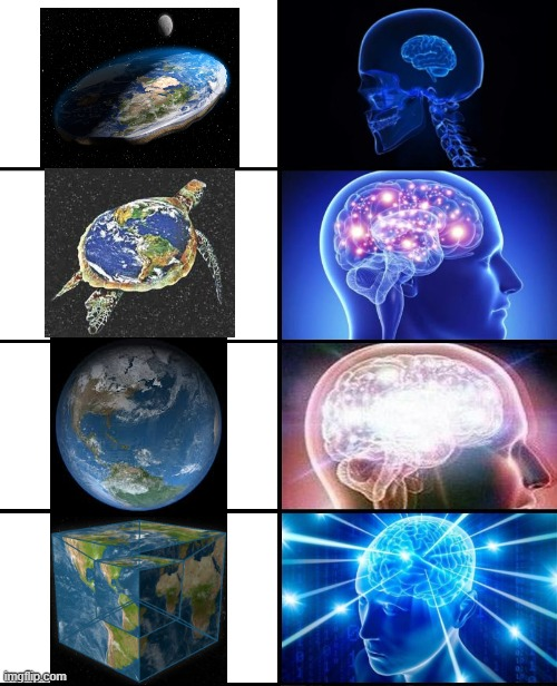 I'm sorry that you're finding out the hard truth but I must educate all of you. | image tagged in expanding brain 4 panels,earth,flat earth,shapes | made w/ Imgflip meme maker